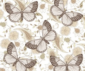Elements of Butterfly & Flower vector 06