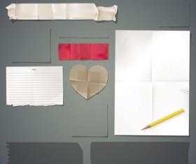 Set of Torn Message Paper vector 04