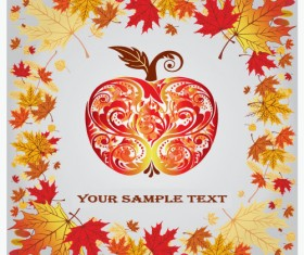 Fall leaves vector background 03