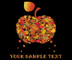 Fall leaves vector background 04