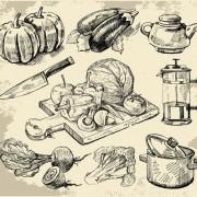 Link toSet of sketch kitchen supplies vector 01