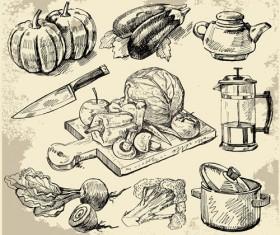 Set of Sketch Kitchen supplies vector 01