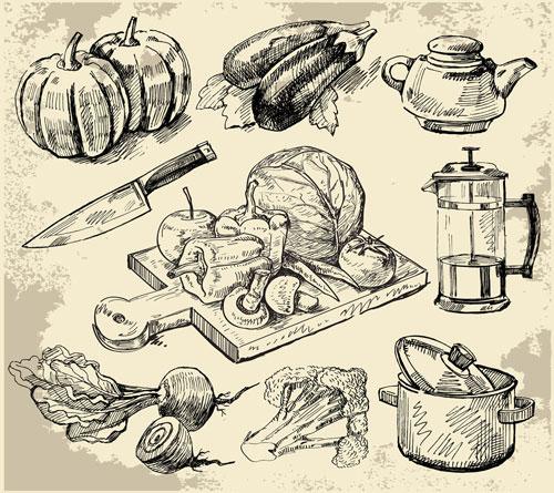 Set Of Sketch Kitchen Supplies Vector 01 Free Download