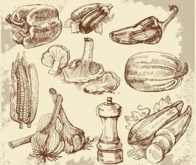 Set of Sketch Kitchen supplies vector 02