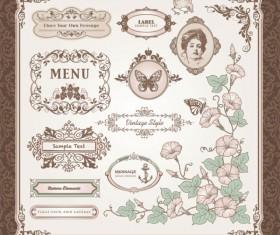Vintage Pattern labels vector set 01