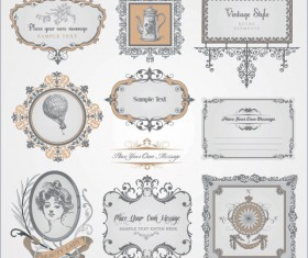 Vintage Pattern labels vector set 03