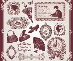 Vintage Pattern labels vector set 04
