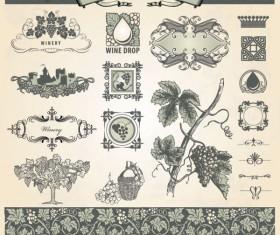 Vintage Pattern labels vector set 05