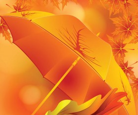 Maple Leaves and Umbrella vector background 01
