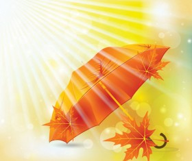 Maple Leaves and Umbrella vector background 02