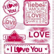 Link toSet of love seal label vector 01