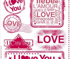 Set of love Seal label vector 01