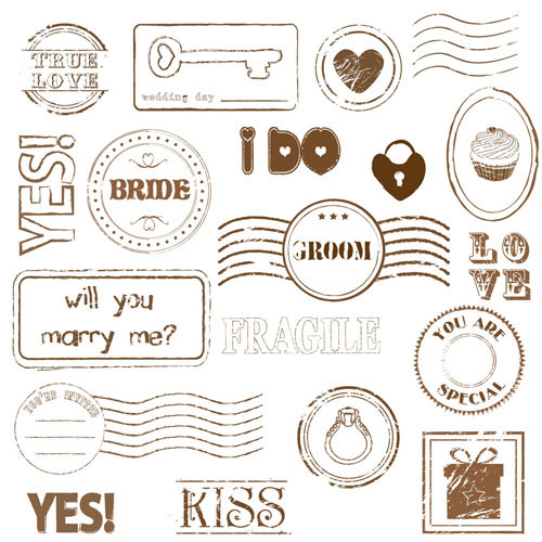 Set of love Seal label vector 02