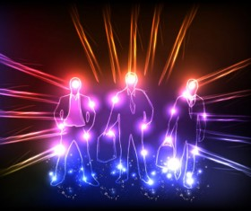 Ornate neon light elements vector background 03
