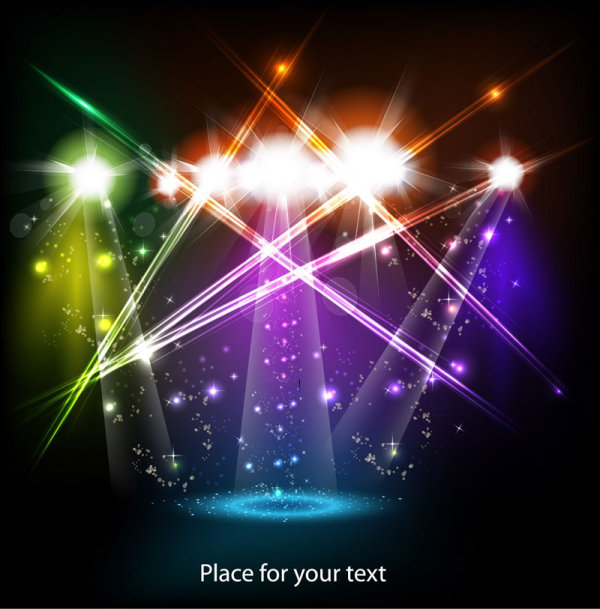 Stage neon light elements vector background