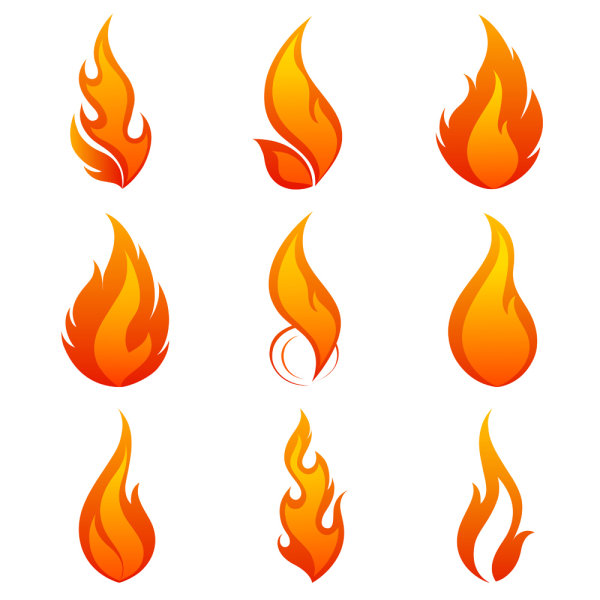 Elements of Vivid flame vector Icon 01