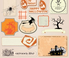 Funny Halloween labels vector 01
