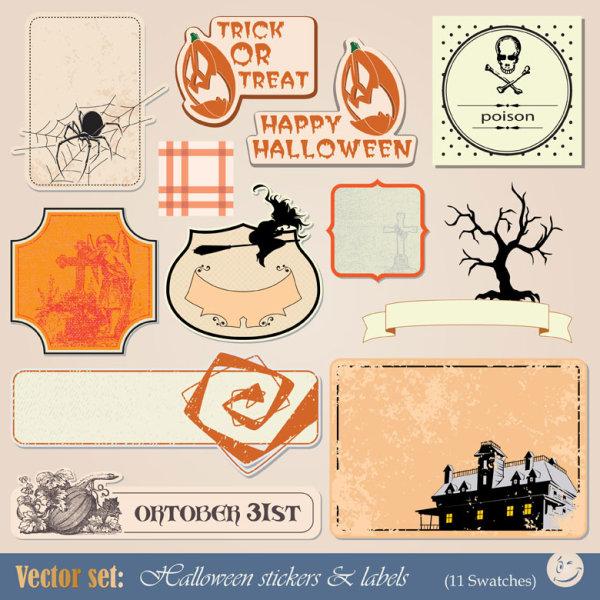 funny halloween labels vector 01 free download. Black Bedroom Furniture Sets. Home Design Ideas