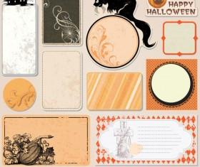 Funny Halloween labels vector 02