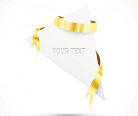 Gold ribbon Invitation card vector 02