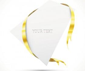 Gold ribbon Invitation card vector 04