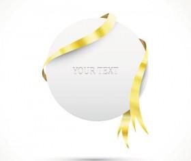 Gold ribbon Invitation card vector 05