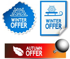 Autumn and winter offer labels stickers vector 02