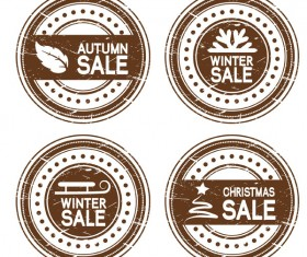 Autumn and winter offer labels stickers vector 03