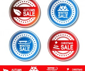 Autumn and winter offer labels stickers vector 04