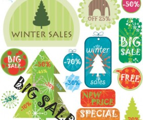 Christmas elements labels vector set 01