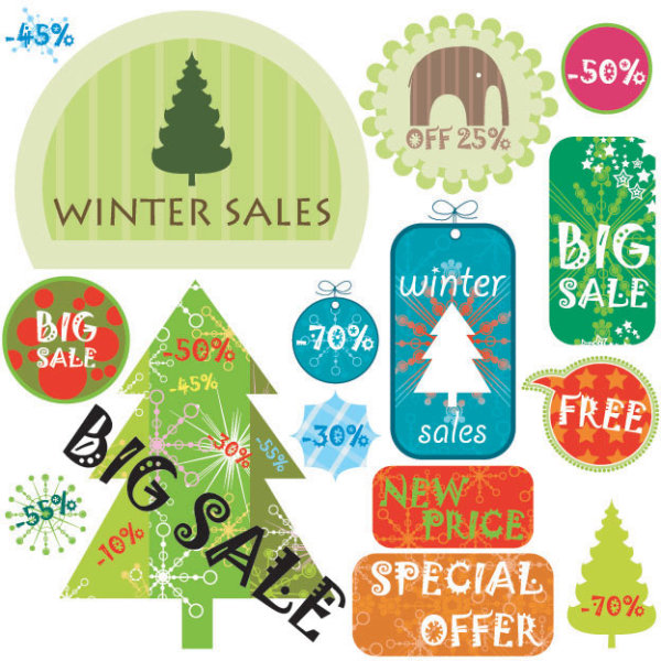 Christmas elements labels vector set 01