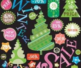 Christmas elements labels vector set 02