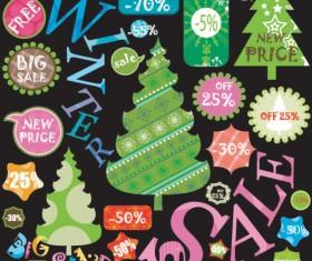 Christmas elements labels vector set 02