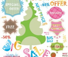 Christmas elements labels vector set 03