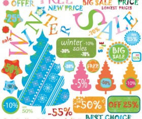 Christmas elements labels vector set 04