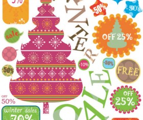 Christmas elements labels vector set 05