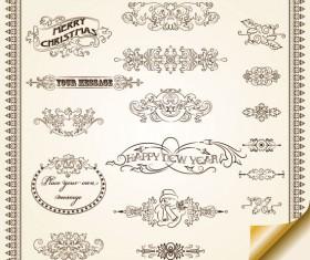 Vintage Decorative pattern Borders elements vector 02