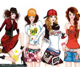 Set of Stylish Female png Illustration