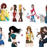 Link toSet of stylish female png illustration 02