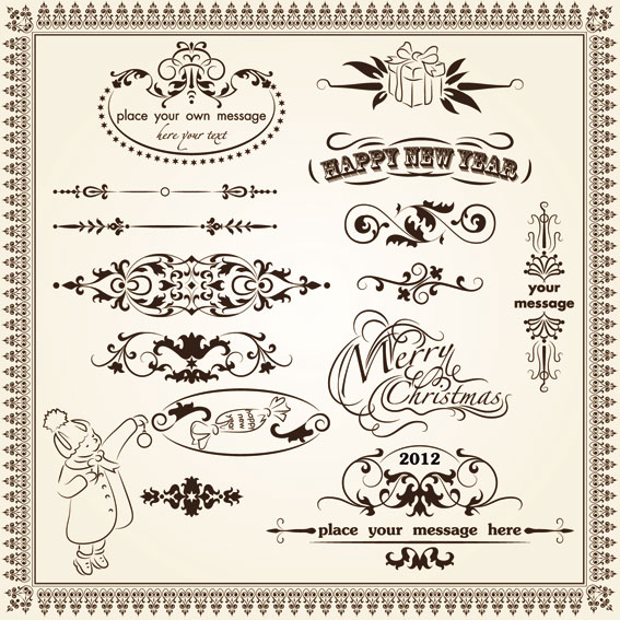 Vintage Decorative pattern Borders elements vector 03