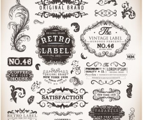 Vintage labels and Borders vector 02