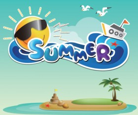 cartoon Summer elements vector 01