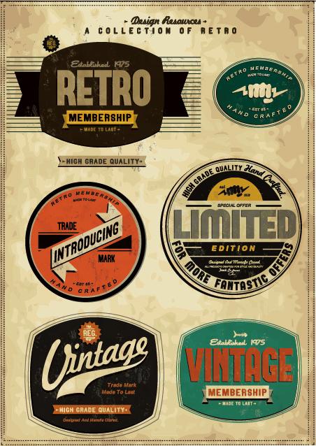 Set of Vintage commerce labels Stickers 01
