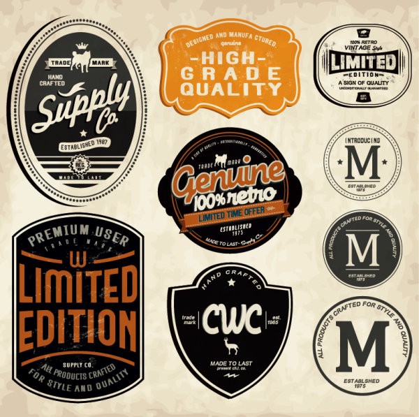 Set of vintage commerce labels stickers 04 – Over millions ...