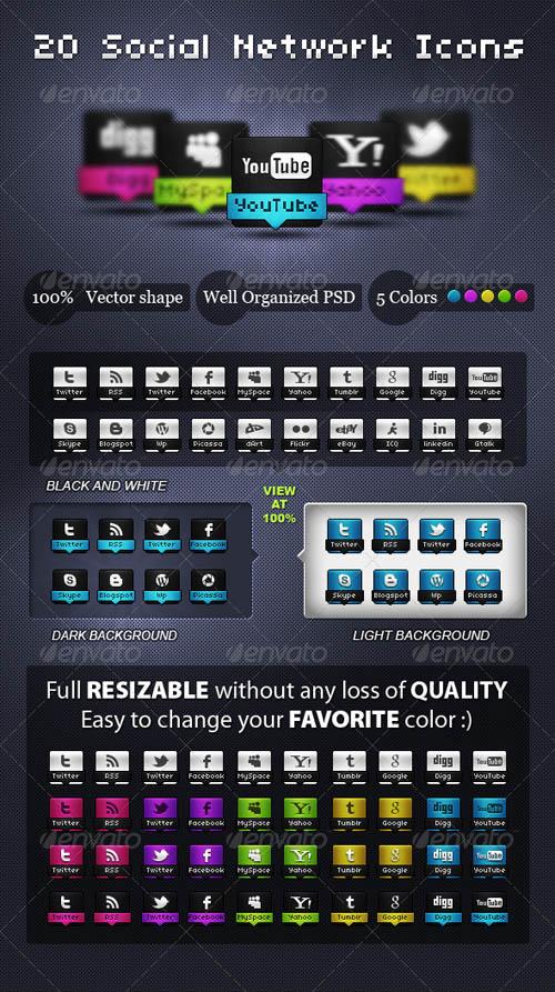 Set of Social Network Icons web design