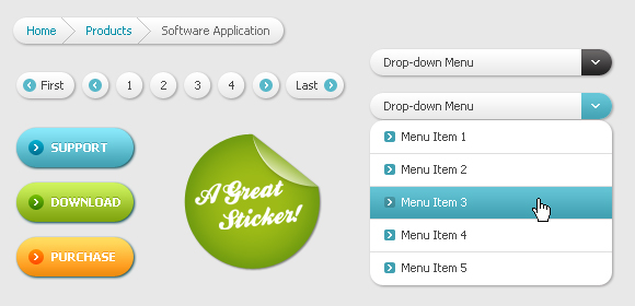 Set of Drop down bar and Button web elements psd