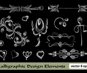 Elements of Floral Borders vector 02