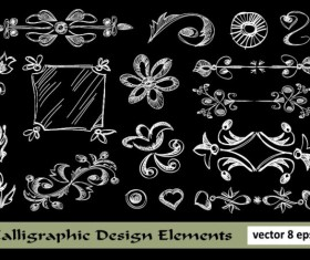 Elements of Floral Borders vector 04