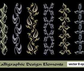 Elements of Floral Borders vector 05