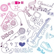 Link toHand painted music elements vector